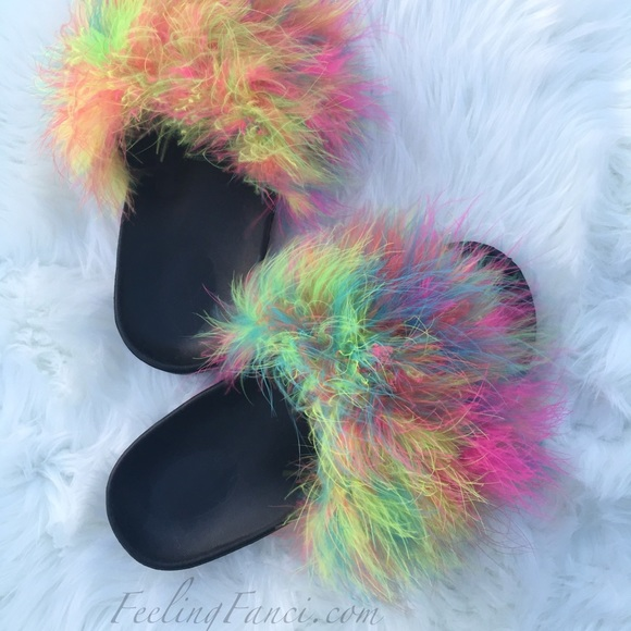 Shoes  Multi Color Fur Slides  Poshmark