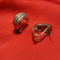 58% off Jewelry - NWOT Silver Omega Clip CZ Earrings from ...