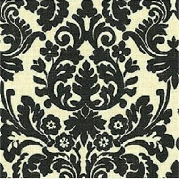 5 black and ivory damask curtain panels