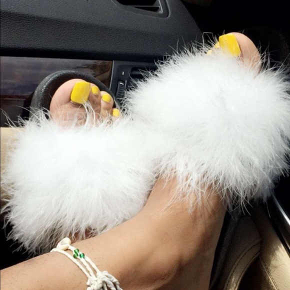 Shoes  White Fur Slides Furry Sandals Fuzzy Slippers