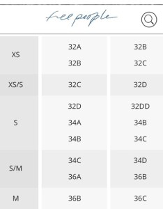Select size to continue   cd  ceba   also free people intimates  sleepwear bra chart poshmark rh