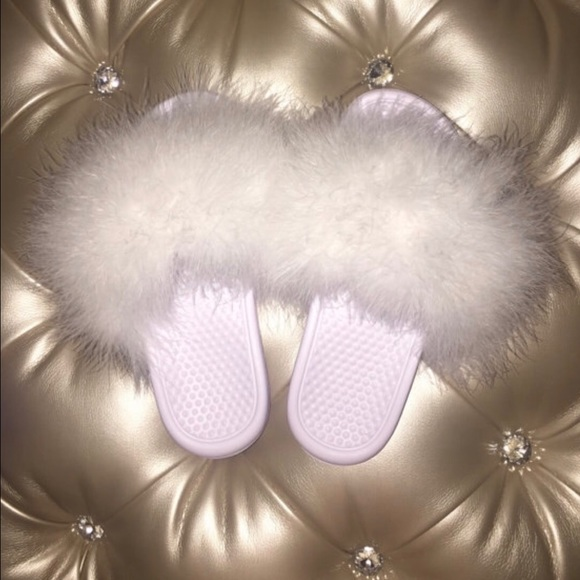 17 off Nike Shoes  Fluffy Slides  All White from Pucci