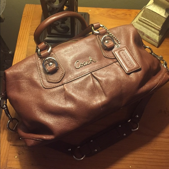 coach ashley leather satchel f15445 brown leather