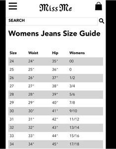 Miss me other jeans size chart found online also poshmark rh