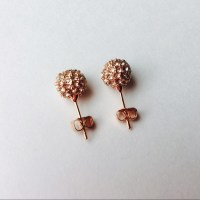 Rose Gold Pave Ball Earrings PROM OS from Ela joy designs ...