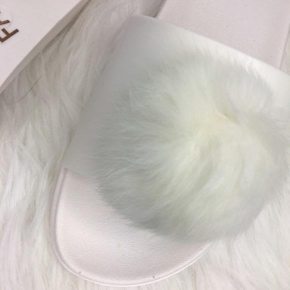 White Fur Pom Pom slides Slide On Sandals 8 from   karin