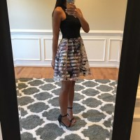 Black and flower print poofy skirt dress S from Annie's ...