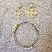Gold and Faux Pearl Earring and Bracelet Set OS from ...