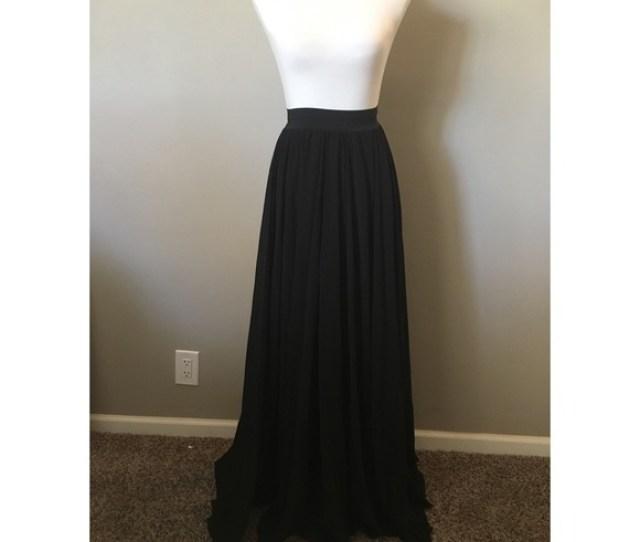 Jane Super Long Black Chiffon Maxi Skirt