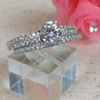 60% off Jewelry - CZ Diamond Wedding Set in Sterling ...