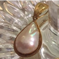 Vintage estate 14k gold Pearl earrings and pendant OS from ...