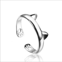 76% off Jewelry - Cat Paws & Ears Silver Plated Ring ...
