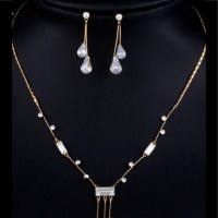 nadri - Clear Austrian crystal necklace and earring set ...