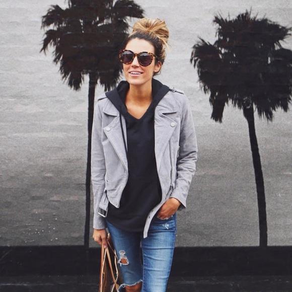 43 Off Blank NYC Jackets Amp Blazers BlankNYC Genuine Suede Moto Jacket In Cloud Grey From Rina