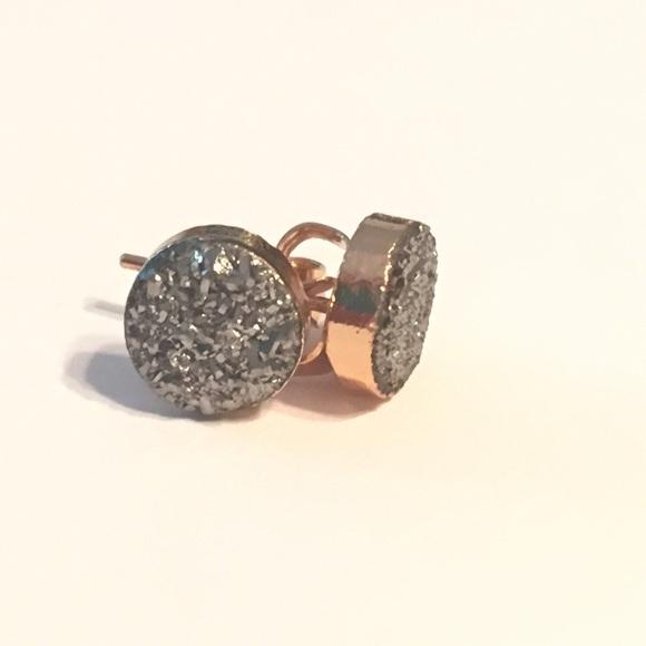 Silver Black Diamond Druzy Gold Stud Earrings 8mm from