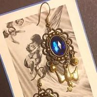 Deep Blue Glass Bronze & Gold Devotional Earrings OS from ...