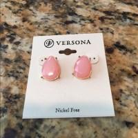 Versona - Versona Pink tear drop stud earrings from Chel's ...