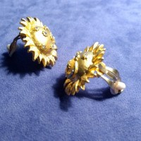 Flashy Gold-toned Earrings w/ Crystal Rhinestones OS from ...