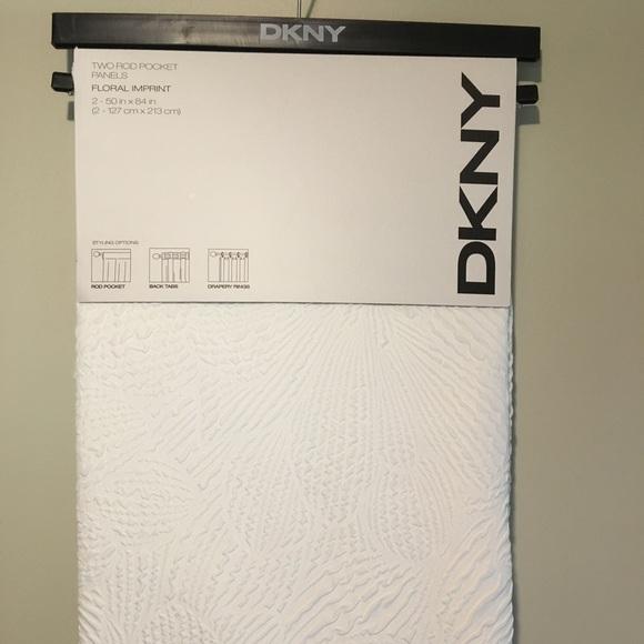 new dkny white rod pocket curtain panels set of 2