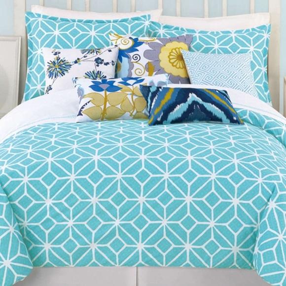 trina turk turquoise trellis queen bedding set