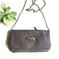 Image result for clutch purse black metal chain and elephant