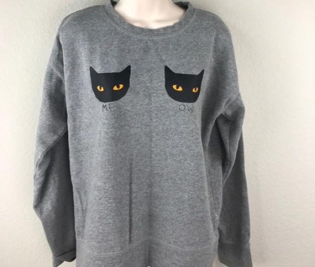 Vans Black Cat Halloween Meow Boobs Sweatshirt