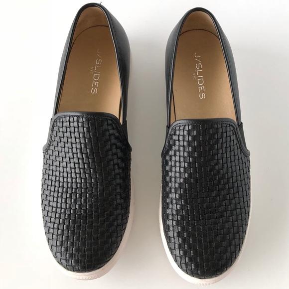 Black Woven Slip On Shoes