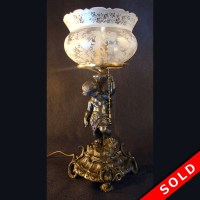Portable Gas Table Lamp with Figural Hunter