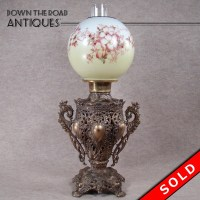 Victorian Banquet Lamp with Hand Painted Globe   DTR Antiques