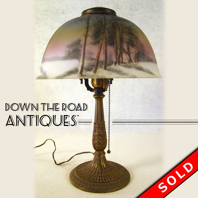 Pittsburgh Reverse Painted Table Lamp with Winter Scene