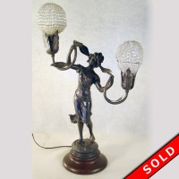 French Art Nouveau Figural Newel Post Lamp