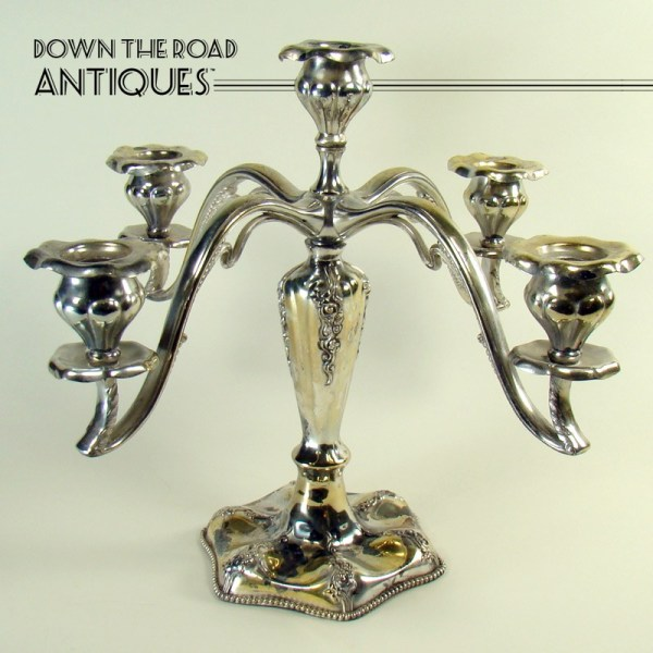Silver Plated Candelabra With Five Candle Inserts - Art