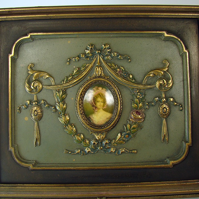 Jewelry Box With Ornate Gesso Art Nouveau Pattern And