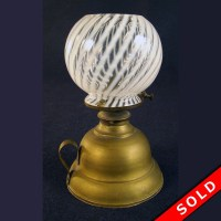 Finger Lamp with Opalescent Swirl Shade | DTR Antiques