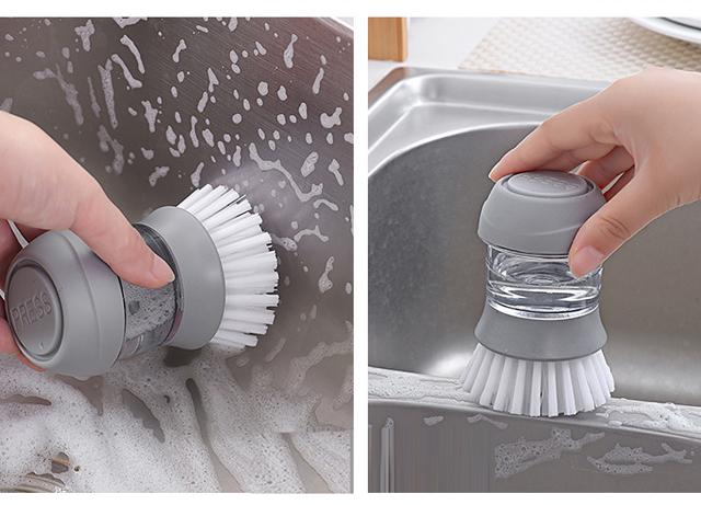 廚房刷鍋刷碗神器創意皂液刷手持皂液器按壓洗鍋刷洗碗_美家惠選
