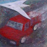 """""""one of those intercity mini-buses that plied between Enugu and Onitsha"""". 4 of 20 under the theme """"Strange Encounter with the Ancestors"""" by 'oma 'taife. Medium and Technique: """"oil on talking canvas"""" Exhibition premier: Galerie Goethe 53, Munich 1992. Copyright  © 2018 'oma 'taife. All rights reserved."""
