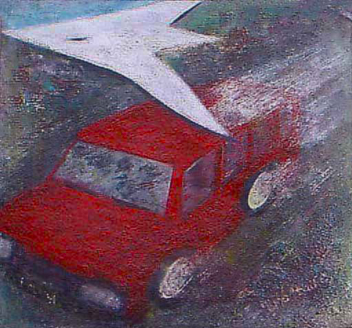"""one of those intercity mini-buses that plied between Enugu and Onitsha"". 4 of 20 under the theme ""Strange Encounter with the Ancestors"" by 'oma 'taife. Medium and Technique: ""oil on talking canvas"" Exhibition premier: Galerie Goethe 53, Munich 1992. Copyright  © 2018 'oma 'taife. All rights reserved."
