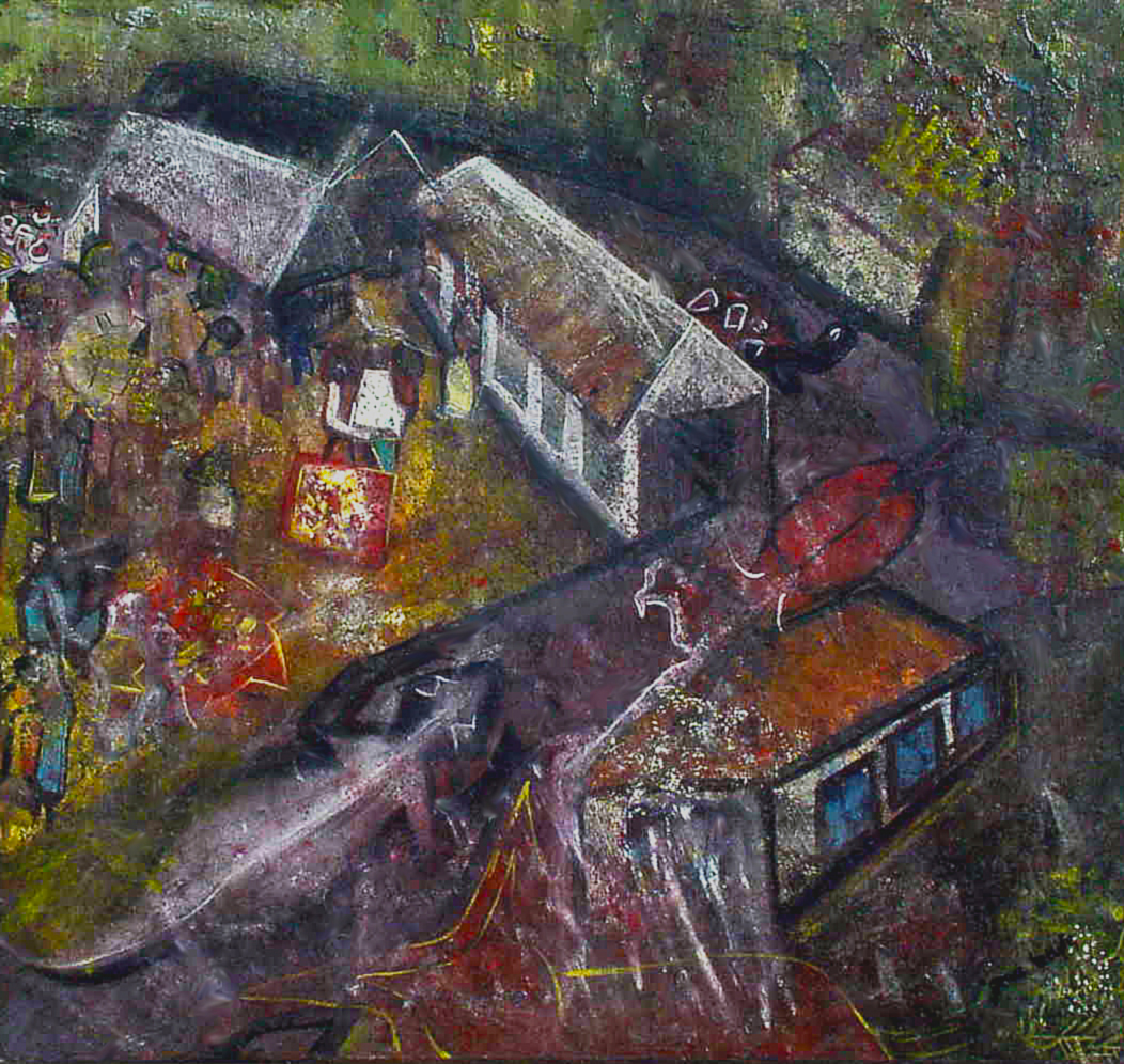 """The nearby big market, where the surrounding rural towns would come to trade on Nkwo (the last day of the four-day native week)."" 5 of 20 under the theme ""Strange Encounter with the Ancestors"" by 'oma 'taife. Medium and Technique: ""oil on talking canvas"" Exhibition premier: Galerie Goethe 53, Munich 1992. Copyright  © 2018 'oma 'taife. All rights reserved."