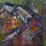 """""""The nearby big market, where the surrounding rural towns would come to trade on Nkwo (the last day of the four-day native week)."""" 5 of 20 under the theme """"Strange Encounter with the Ancestors"""" by 'oma 'taife. Medium and Technique: """"oil on talking canvas"""" Exhibition premier: Galerie Goethe 53, Munich 1992. Copyright  © 2018 'oma 'taife. All rights reserved."""