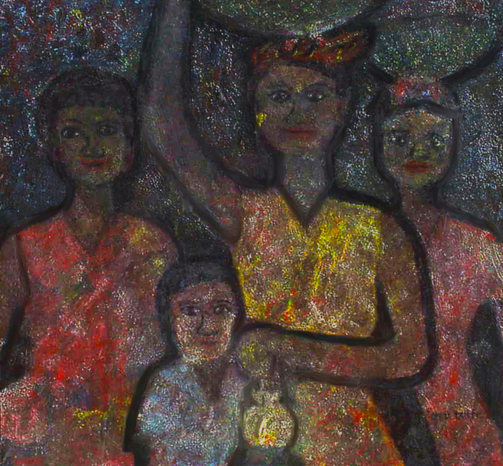 """Then they would send about a dozen or more enthusiastic volunteers, laden with yams and grated boiled cassava, to accompany us by lantern-light back home."" 6 of 20 under the theme ""Strange Encounter with the Ancestors"" by 'oma 'taife. Medium and Technique: ""oil on talking canvas"" Exhibition premier: Galerie Goethe 53, Munich 1992. Copyright © 2018 'oma 'taife. All rights reserved."