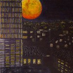 """""""cities that were never dark because they forgot to see the moon"""" 1 of 20 under the theme """"Strange Encounter with the Ancestors"""" by 'oma 'taife. Medium and Technique: """"oil on talking canvas"""" Exhibition premier: Galerie Goethe 53, Munich 1992. Copyright © 2018 'oma 'taife All rights reserved."""