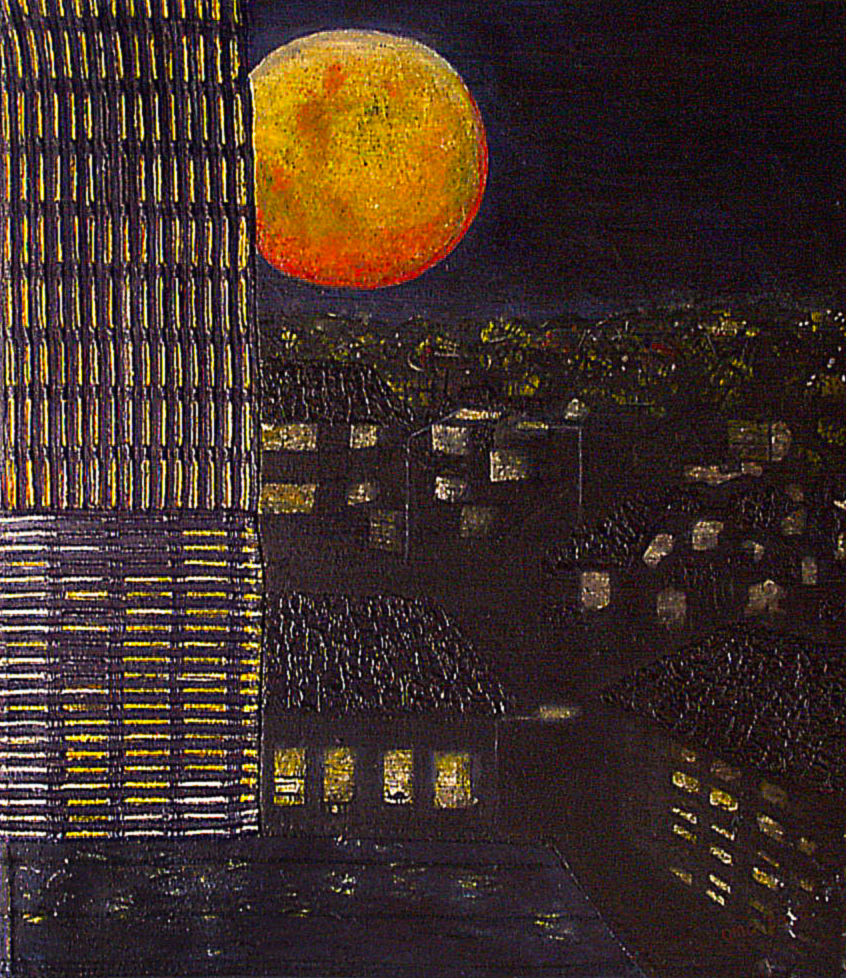 """cities that were never dark because they forgot to see the moon"" 1 of 20 under the theme ""Strange Encounter with the Ancestors"" by 'oma 'taife. Medium and Technique: ""oil on talking canvas"" Exhibition premier: Galerie Goethe 53, Munich 1992. Copyright © 2018 'oma 'taife All rights reserved."