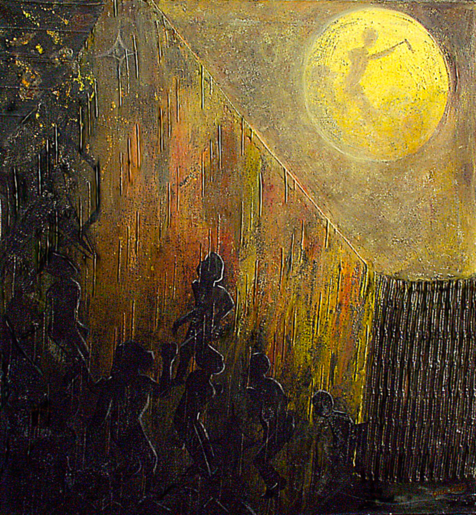 """And they knew all about it - the village people and the man with the axe up there.... They knew all about the moon."" 2 of 20 under the theme ""Strange Encounter with the Ancestors"" by 'oma 'taife. Medium and Technique: ""oil on talking canvas"" Exhibition premier: Galerie Goethe 53, Munich 1992. Copyright © 2018 'oma 'taife All rights reserved."