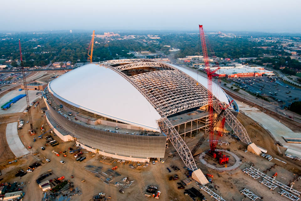 Aerial architecture photography cowboys stadium under construction