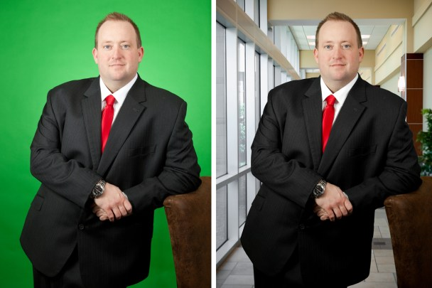 a side by side comparison of a man in front of a green screen, and then the same image with a background behind him