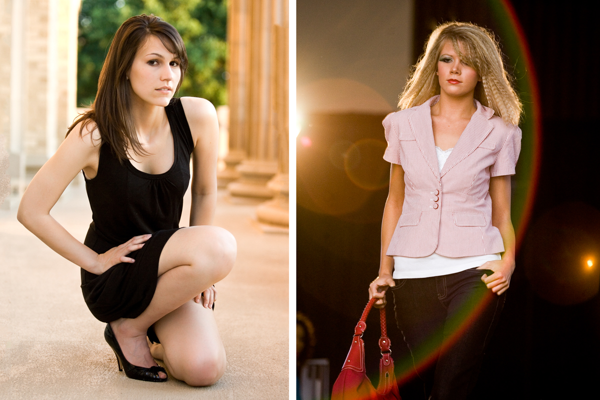 Two Beautiful Dallas fashion women wearing stylish clothes. One on the runway, the other next to DFW pillars.
