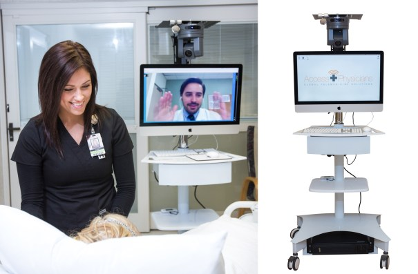 dallas product photography for access physicians of a women helping a patient in a hospital room and the doctor on screen in the background.