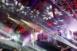 Backstage photography look at a concert with lots of lights