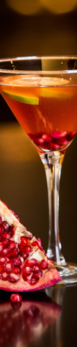 A pomegranate beverage in a martini glass to link to food photography