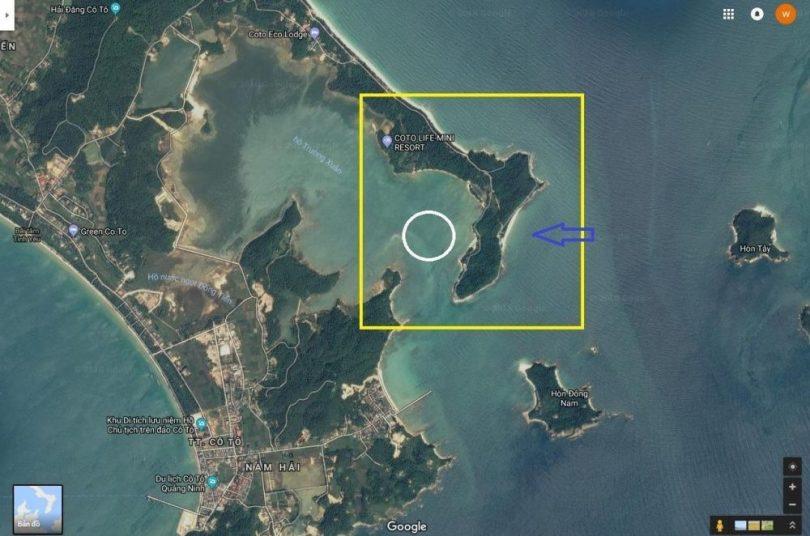 Bản đồ chỉ dẫn đường đi tới bãi biển Vụng Tiên